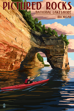 Pictured Rocks National Lakeshore, Michigan Print by  Lantern Press