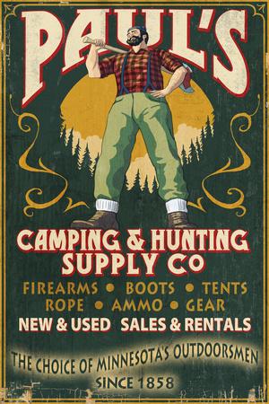 Minnesota - Paul Bunyan Camping Supply Prints by  Lantern Press