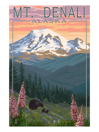 Bear and Cubs Spring Flowers - Mount Denali, Alaska Posters by  Lantern Press