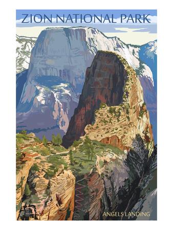 Zion National Park - Angels Landing Affischer av  Lantern Press