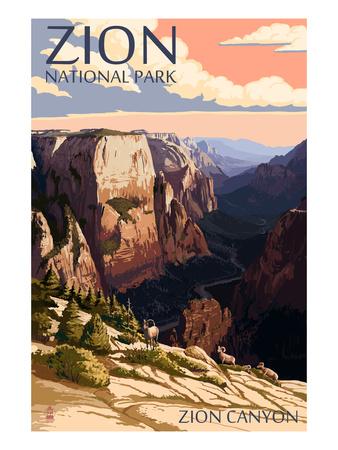 Zion National Park - Zion Canyon Sunset Posters af  Lantern Press