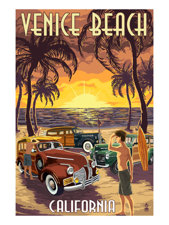 Venice Beach, California - Woodies and Sunset Prints by  Lantern Press