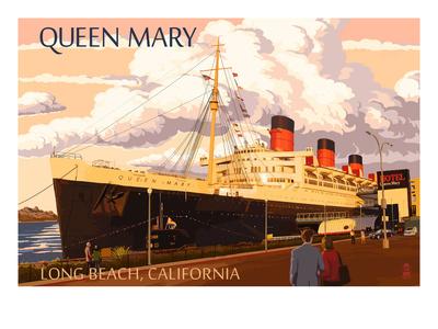 Long Beach, California - Queen Mary Prints by  Lantern Press