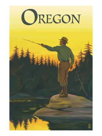 Oregon - Fisherman Casting Print by  Lantern Press