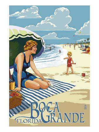 Boca Grande, Florida - Woman and Beach Scene Prints by  Lantern Press