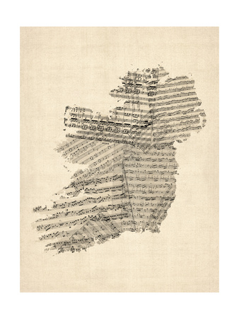 Old Sheet Music Map of Ireland Map Premium Giclee Print by Michael Tompsett