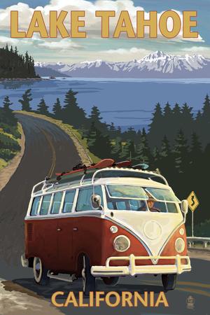 Lake Tahoe, California - VW Coastal Drive Prints by  Lantern Press