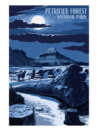 Wolves and Full Moon - Petrified Forest National Park Poster by  Lantern Press