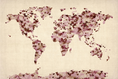 Love Hearts Map of the World Map Prints by Michael Tompsett