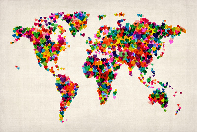 Love Hearts Map of the World Map Poster by Michael Tompsett