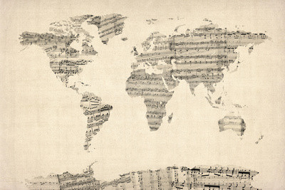 Map of the World Map from Old Sheet Music Prints by Michael Tompsett