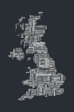 Great Britain UK City Text Map Premium Giclee Print by Michael Tompsett