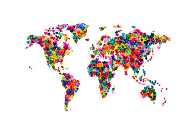 Love Hearts Map of the World Poster by Michael Tompsett