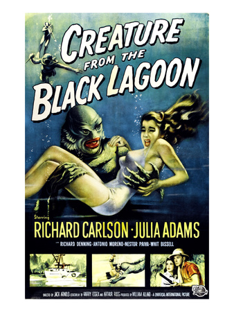 Creature from the Black Lagoon Ben Chapman Ricou Browning 1954 vintage movie poster