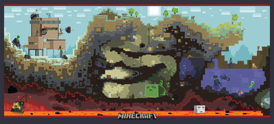 Minecraft Cross-Section Video Game Premium Poster Posters