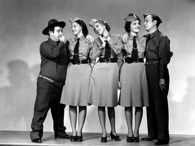 Buck Privates, Lou Costello, Maxine Andrews, Patty Andrews, Laverne Andrews, 1941 Photo