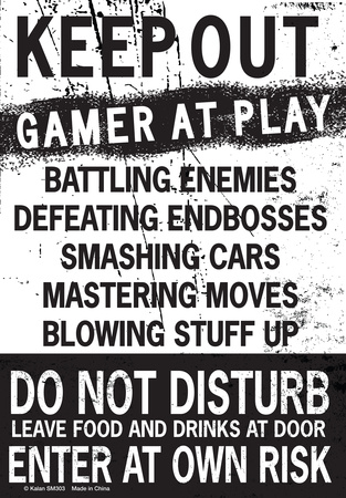 Keep Out Gamer At Play… Metalen bord