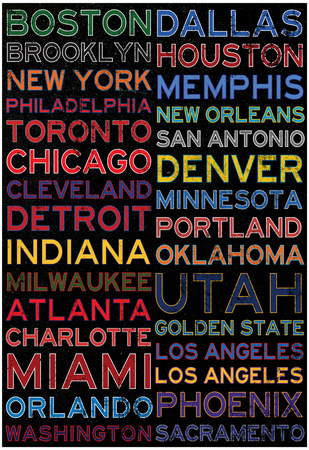 National Basketball Association Cities Colorful Poster