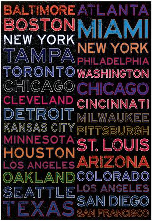 Major League Baseball Cities Colorful Print