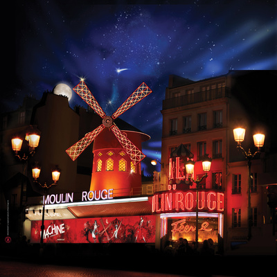 2010 Moulin Rouge full moon Photographic Print