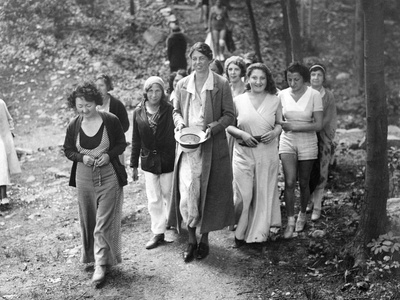 First Lady Eleanor Roosevelt Visits a Camp Tera for Unemployed Women Near Bear Mountain, NY Photo