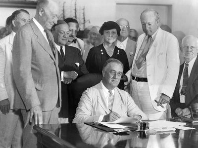 President Franklin Roosevelt Signs the Social Security Bill Photo