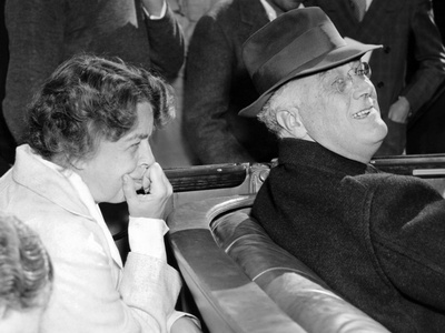 President Franklin and Eleanor Roosevelt During Informal Press Conference at Warms Springs, Georgia Photo