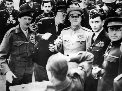 Allied Leaders Drink a Victory Toast at Frankfurt Am Main, Germany Photo