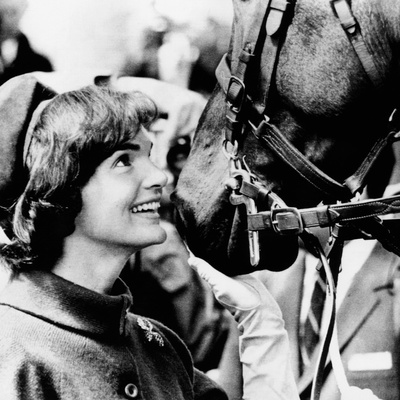 Jacqueline Kennedy Beams at One of the Famed Horses of the Canadian Royal Mounted Police Photo