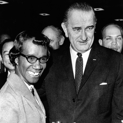President Lyndon Johnson with Newly Elected Congresswomen Shirley Chisholm of New York Photo