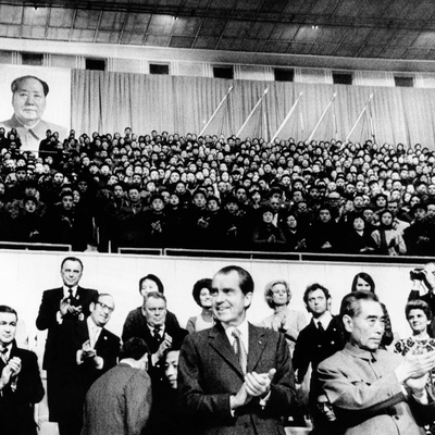 Pres Richard Nixon and Premier Chou En-Lai Applaud Chinese Athletes Photo