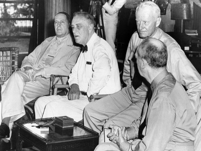 President Franklin Roosevelt at Pearl Harbor on June 11, 1944 Photo