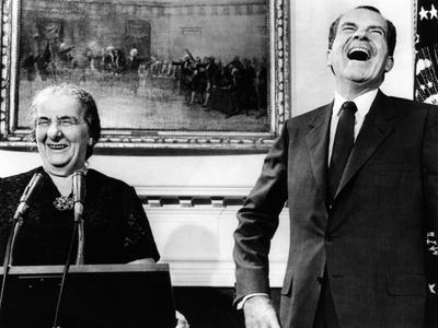 Israeli Prime Minister Golda Meir and Pres Richard Nixon with Press in Roosevelt Room, Sept 26 1969 Photo