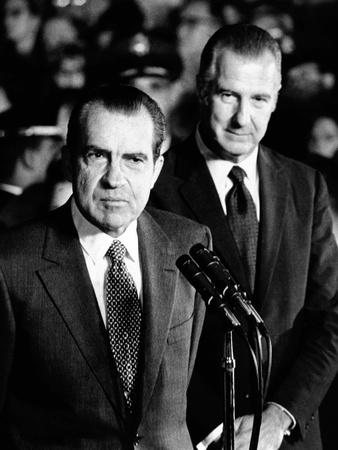 President Nixon Speaks on His Return from His 12,000 Mile European Trip Photo