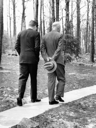 Pres Dwight Eisenhower and John Kennedy after Failed Bay of Pigs Invasion, Camp David, Apr 22, 1961 Photo