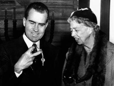 Vice Pres Richard Nixon and Eleanor Roosevelt at Dedication Ceremonies New B'nai B'rith Building Photo