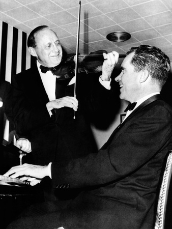 Comedian Jack Benny, with His Violin, Teams Up with Vice President Richard Nixon at the Piano Photo