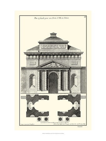 Crackled B and W Palace Facade II Print by Jean Deneufforge