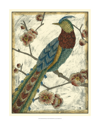 Embroidered Pheasant I Posters by Chariklia Zarris