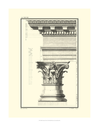B&W Column and Cornice I Poster by Giovanni Borra