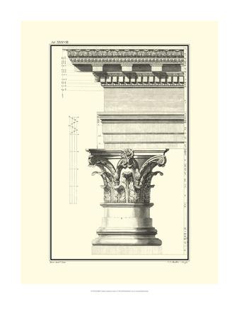 Crackled B&W Column and Cornice I Print by Giovanni Borra