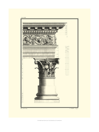 Crackled B&W Column and Cornice IV Poster by Giovanni Borra