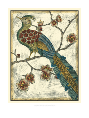 Embroidered Pheasant II Art by Chariklia Zarris