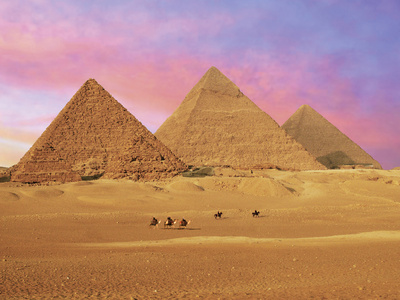 Pyramids at Sunset, Giza, Cairo, Egypt Photographic Print by Miva Stock