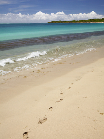 Footprints in Sand on Natadola Beach, Coral Coast, Viti Levu, Fiji, South Pacific Photographic Print by David Wall
