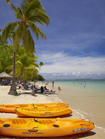 Kayaks and Beach, Shangri-La Fijian Resort, Yanuca Island, Coral Coast, Viti Levu, Fiji Photographic Print by David Wall