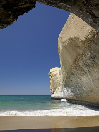 Sea Cave, Beach and Cliffs, Tunnel Beach, Dunedin, South Island, New Zealand Photographic Print by David Wall