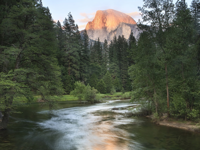 Half Dome with Sunset over Merced River, Yosemite, California, USA Photographic Print by Tom Norring