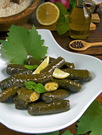 Stuffed Vine Leaves, Dolmades, Arabic Countries, Arabic Cooking, Greek Food, Turkish Food Photographic Print by Nico Tondini