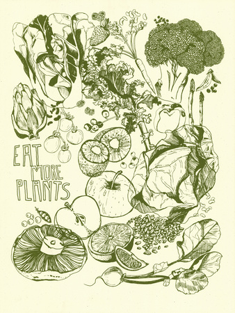 Eat More Plants Serigraph by  Brainstorm